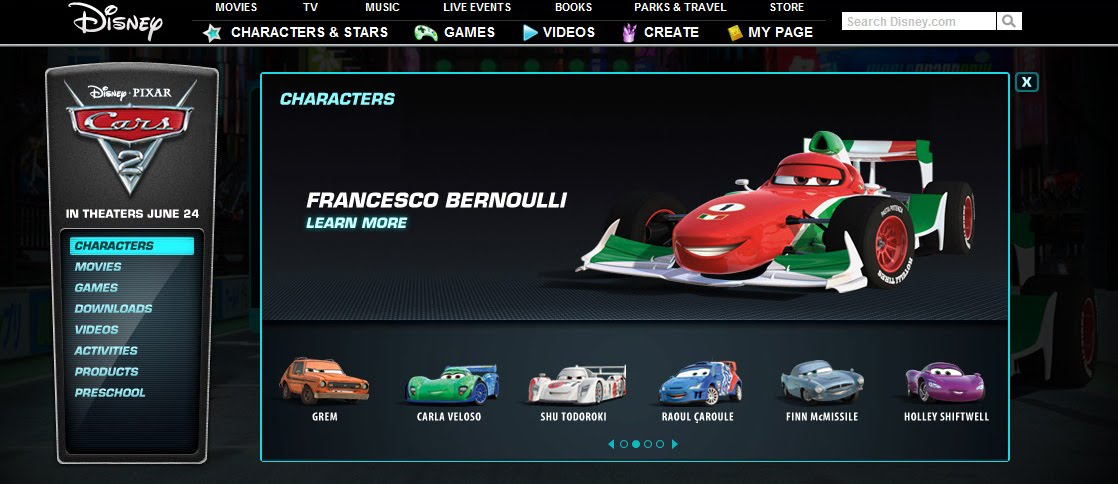 Just A Car Guy Cars 2 Website Now Shows The Different Characters