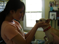 Rare to see Shivangi touch a doggie...but mine is so cute how could she resist. =)