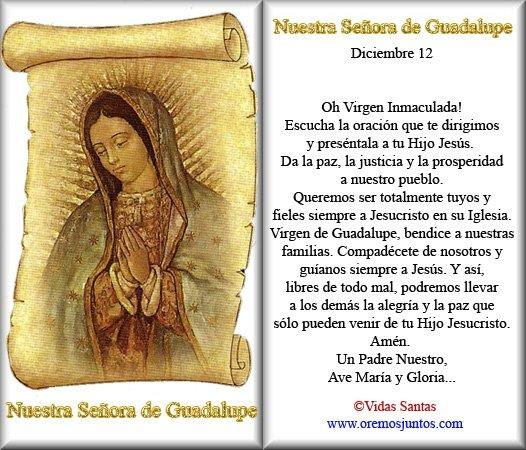 virgen de guadalupe oracion 12 de diciembre mexico