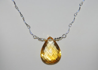 aaa golden citrine briolette handmade sterling silver necklace