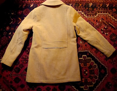 modified cycling coat LL Bean car coat camel wool 3M Scotchlite reflective tape