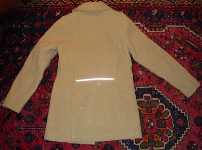 modified cycling coat LL Bean car coat camel wool 3M Scotchlite reflective tape flashed