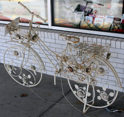 wrought iron bike planter