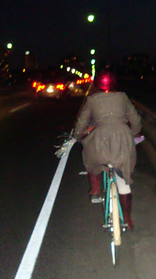 sparkly lady on a bike