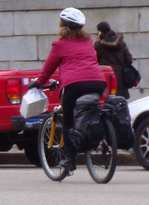 lady with cargo on her bike