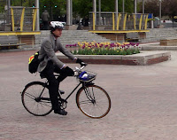 gentleman on a Raleigh three speed bike