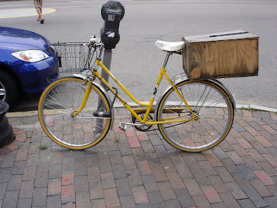 yellow cargo bike
