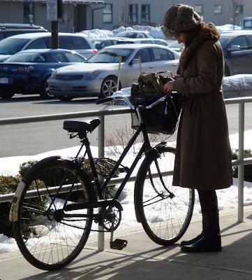 parking a bike in winter Boston