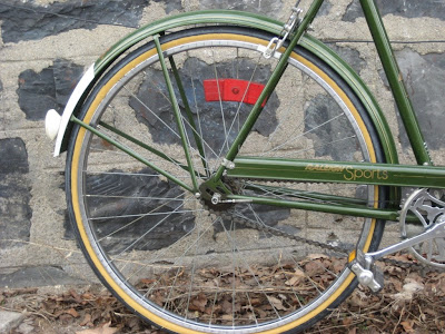 British green Raleigh three speed
