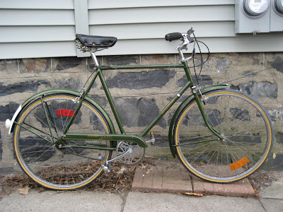 British green Raleigh three speed 3