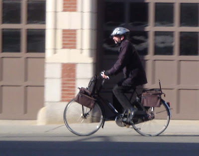 bicycle commuter man with bag