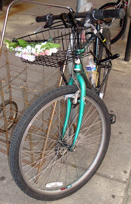 townie mountain bike with flower on the basket