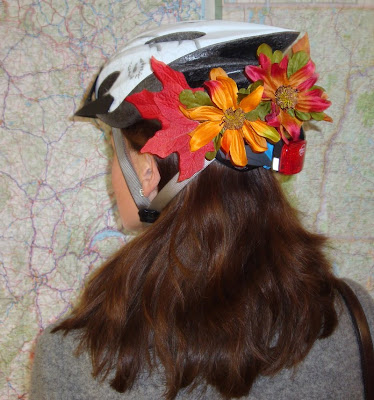 autumn decorated bike helmet