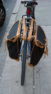 DIY canvas panniers on a bike
