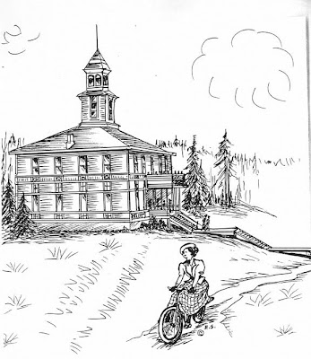 a drawing from the journal of Ethel Starr Mack lady cyclist in Oregon 1897