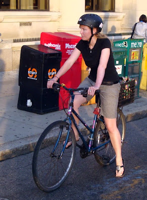 lady cyclist in Boston