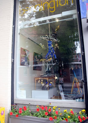 Bennington art gallery featuring bicycle art in the window