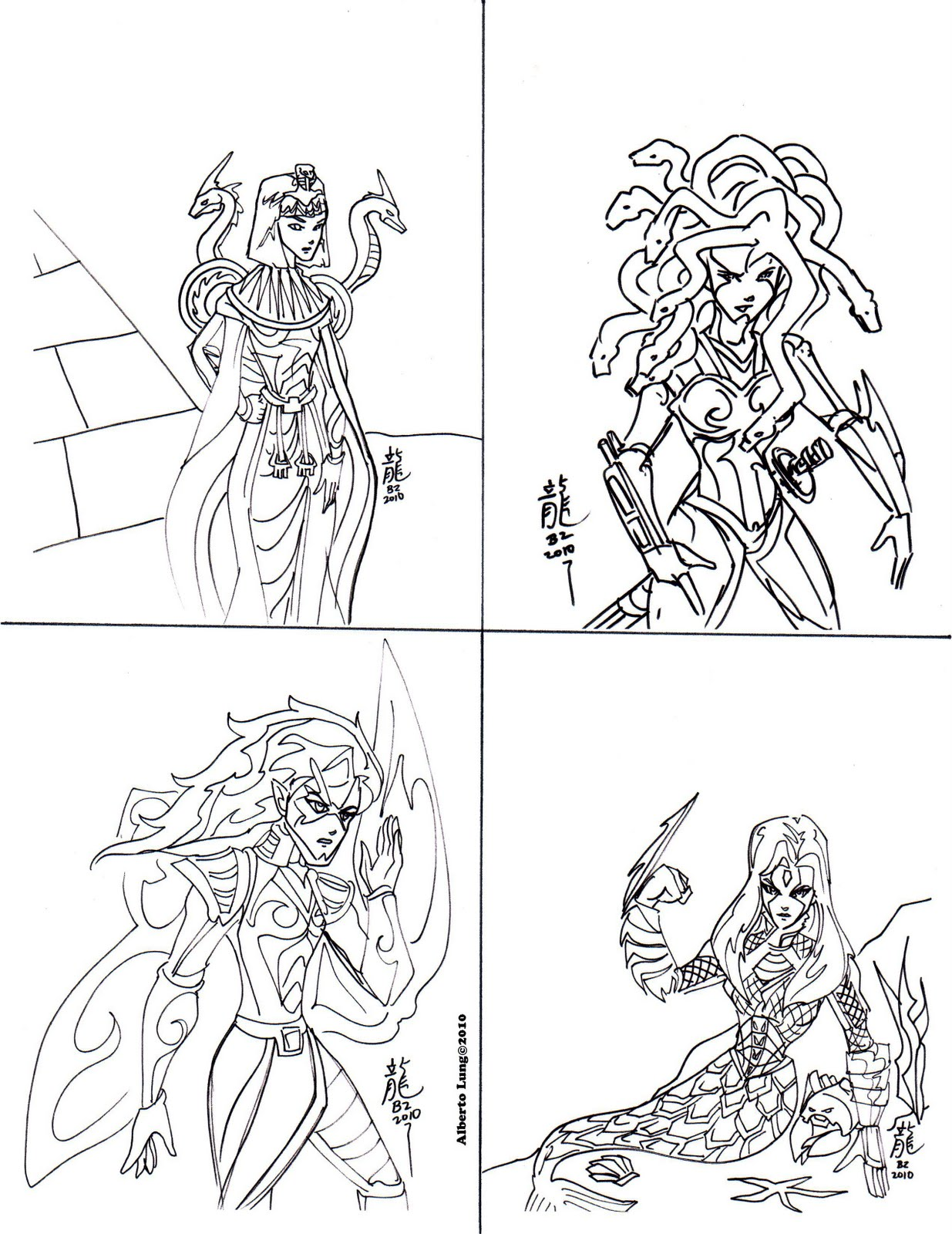 kid sketches dragons robots mermaids and knights coloring cards