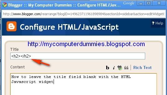 blank title HTML Javascript gadget