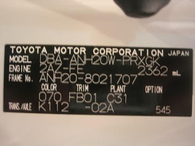 Toyota Alphard Chassis Logo for 2ng Gen