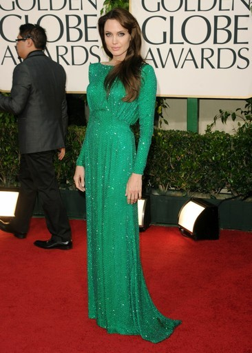Angelina Jolie green Versace dress back Golden Globes 2011
