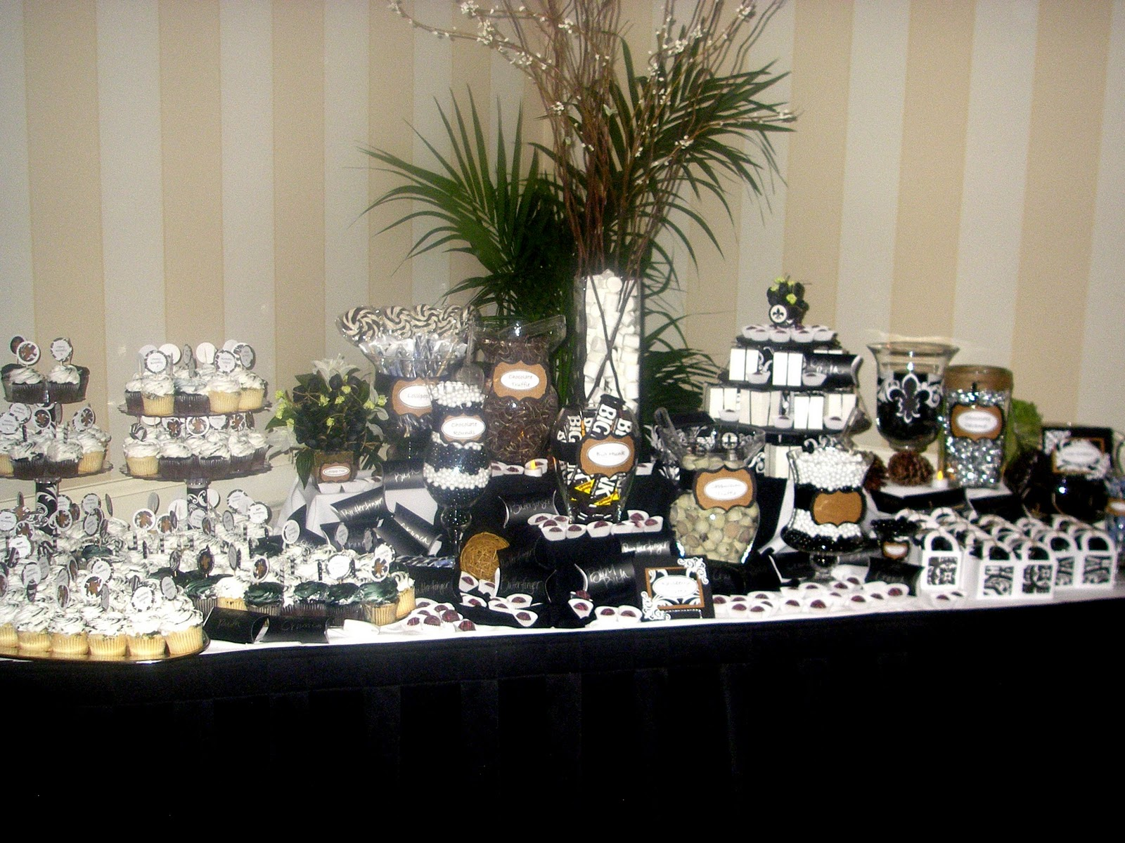 black and white candy table for a 50th birthday party