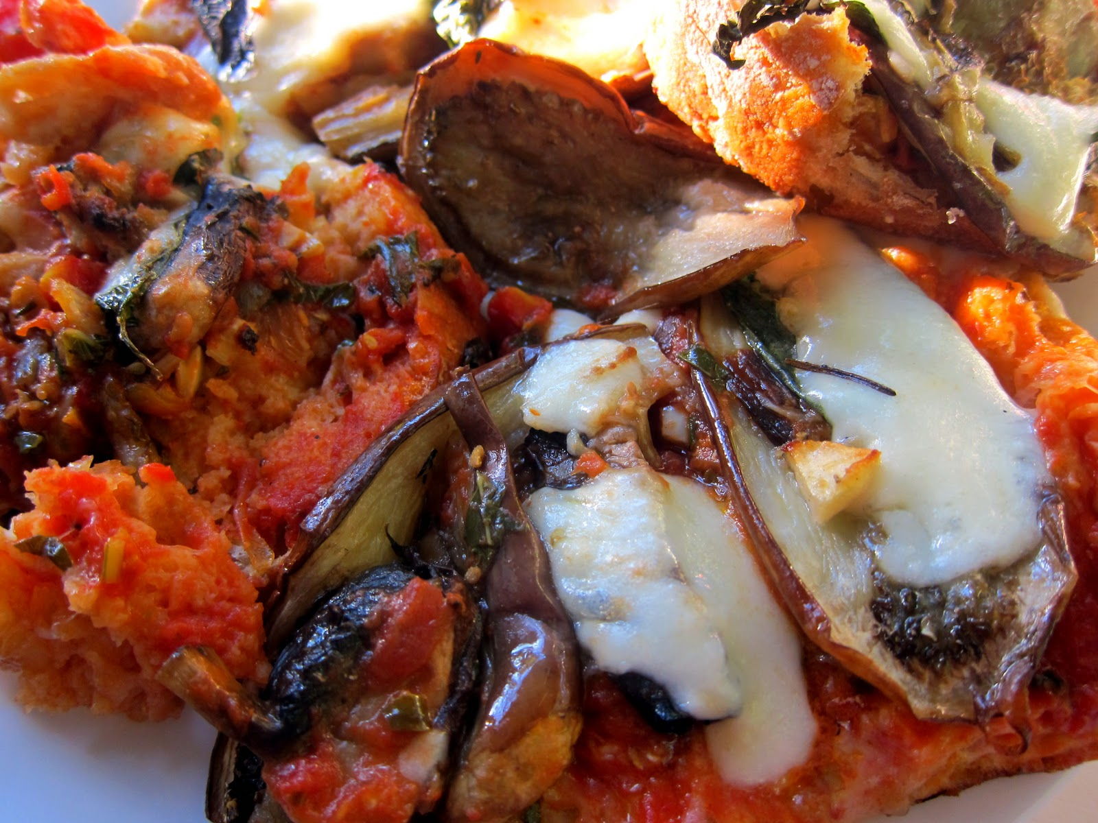 ... eggplant and fresh mozzarella and garlic-tomato confit, the perfect