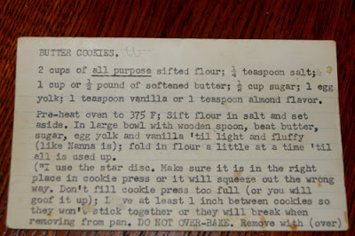 Grandpa Syska's butter cookies recipe (front side)