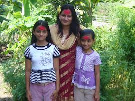 Sila,Sweta with mum Shiva Maya Kunwar