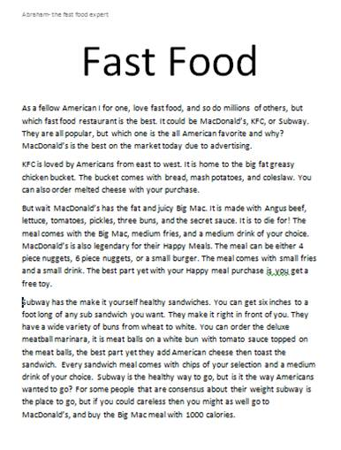 Essay about restaurant food