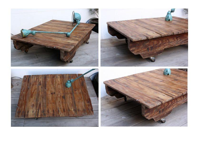 descripcin antiguo palet industrial de madera sobre ruedas epoca estado la madera esta un poco gastada pero tiene una patina muy bonita