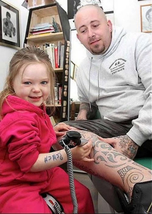She also practices with a toy kit in her father's tattoo shop.