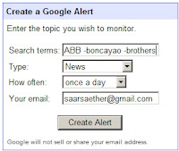 Setting up a news alert on Google
