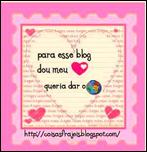 """Selo """"Para esse blog dou meu coração... Queria dar o Mundo"""""""