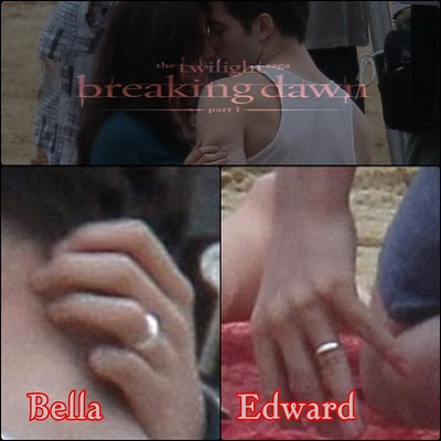 Bella wasn't wearing a wedding band only her fugly engagement ring