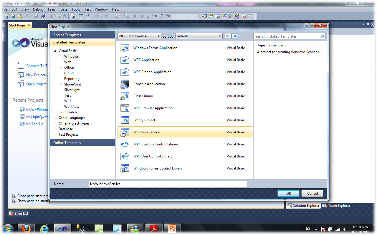 how to run visual basic 2010