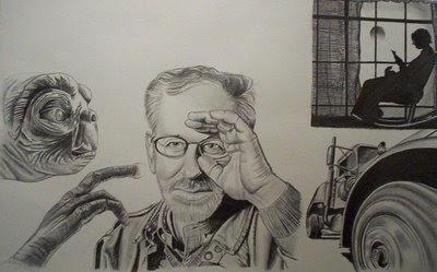 Steven Spielberg, réalisé pour le concours HOMMAGE de l'atelier magique, 2èmme place. réalisé avec les affiches des films E.T, Duel, La couleur pourpre