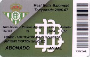 Real Betis Balompié - Abono Temporada 2006-07