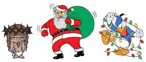 Jesus Cristo, Pai Natal e Pato Donald