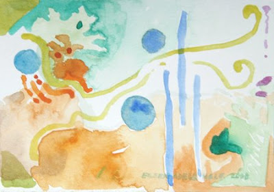 Sky Dance, a miniature watercolor, aqua and orange-gold with circles and flowing squiggles