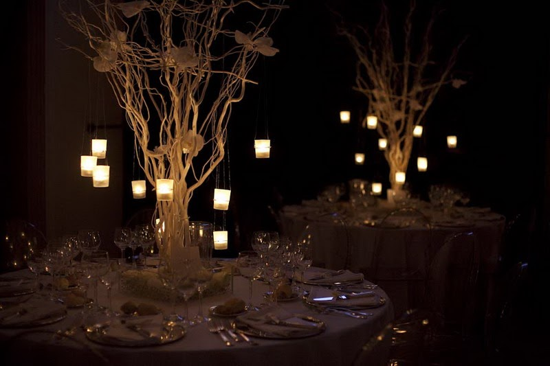 Crazy about weddings tall centrepieces inspired by nature for Centrotavola matrimonio candele