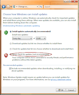 turn of automatic windows updates windows vista
