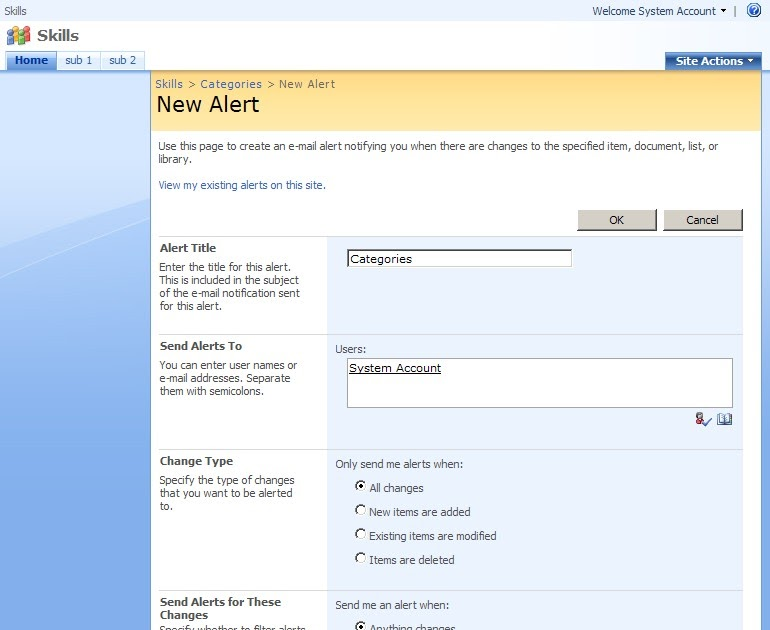 sharepoint 2013 how to create alerts