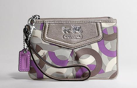 COACH 43314 MADISON OP ART WRISTLET NEW VIOLET MULTI
