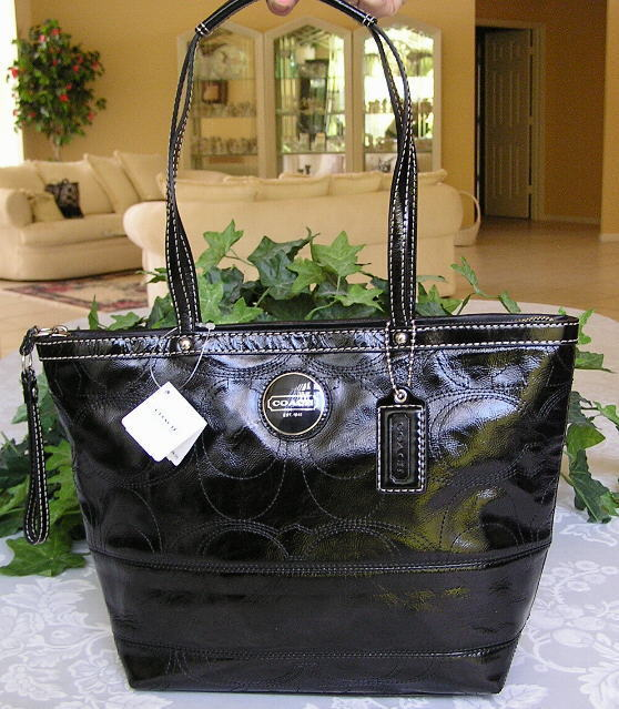 COACH SIGNATURE LEATHER TOTE BAG PURSE BLACK 15142