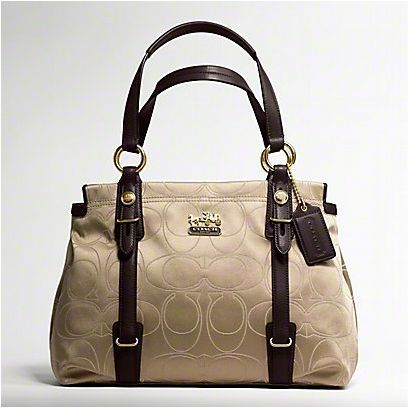 Coach 15402 Mia Signature Outline Op Art Carryall Khaki Mahogany