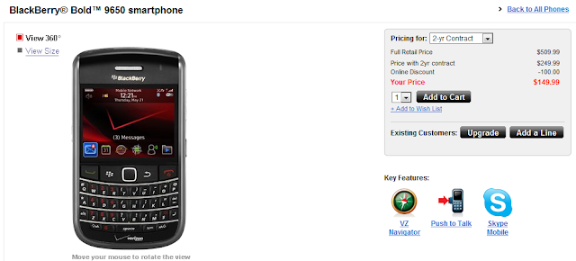 Verizon BlackBerry Bold 9650 Now Available for Purchase Online!