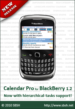 SBSH Calendar Pro for BlackBerry v1.2 Released