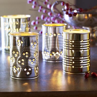 candelabros hechos con latas