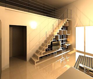 Ilfotocane soluzione di scala in legno con libreria integrata for Scala per libreria